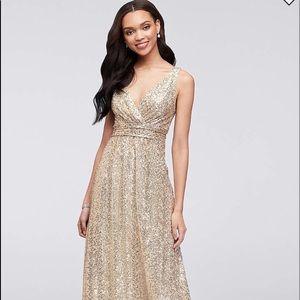 Gold sequin dress size 2. Floor length